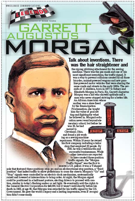 "garrett morgan a biography Garrett morgan was granted a patent for a traffic signal on november 20, 1923 the department of transportation's website states that ""the traffic signal was a t-shaped pole unit that featured three positions: stop, go and an all-directional stop position""."